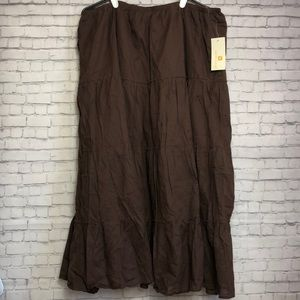 Metro Wear Chocolate Brown Tiered Maxi Skirt 3X